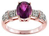 Red Synthetic Bixbite And White Zircon 18k Rose Gold Over Silver Ring 1.56ctw