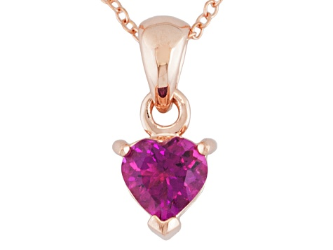 Red Synthetic Bixbite 18k Rose Gold Over Silver Pendant With Chain .51ctw