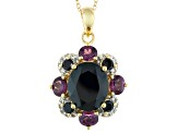 Black Onyx 18k Gold Over Silver Pendant With Chain 6.16ctw