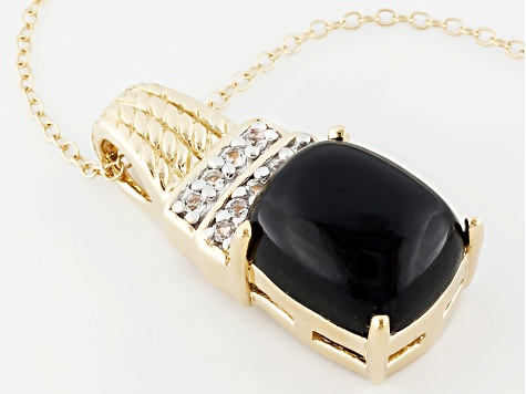Black Onyx 18k Yellow Gold Silver Pendant With Chain .18ctw