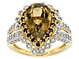 Champagne Quartz, Smoky Quartz And White Topaz 18k Gold Over Silver Ring 4.41ctw