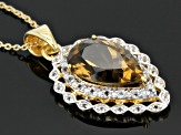Champagne Quartz And White Topaz 18k Gold Over Silver Pendant With Chain 4.19ctw