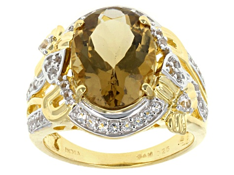 Champagne Quartz And White Topaz 18k Gold Over Silver Ring 5.08ctw