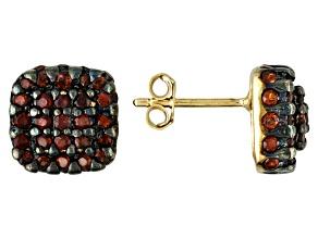 Red Garnet 18k Gold Over Silver Earrings 3.00ctw