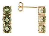 Moldavite 18k Yellow Gold Over Sterling Silver Earrings 2.04ctw