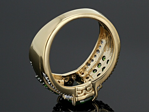 Green Chrome Diopside 18k Gold Over Silver Ring 2.42ctw
