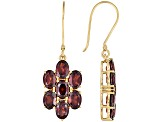 Red Garnet 18k Yellow Gold Over Silver Earrings 11.30ctw