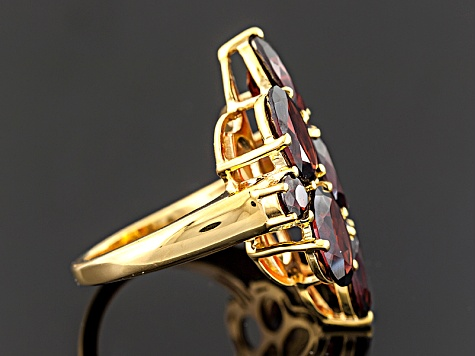 Red Garnet 18k Yellow Gold Over Sterling Silver Ring 13.06ctw