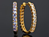 Tanzanite 18k Yellow Gold Over Sterling Silver Reversible Hoop Earrings 5.67ctw