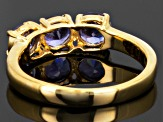 Tanzanite 18k Yellow Gold Over Sterling Silver 3-Stone Ring 1.30ctw