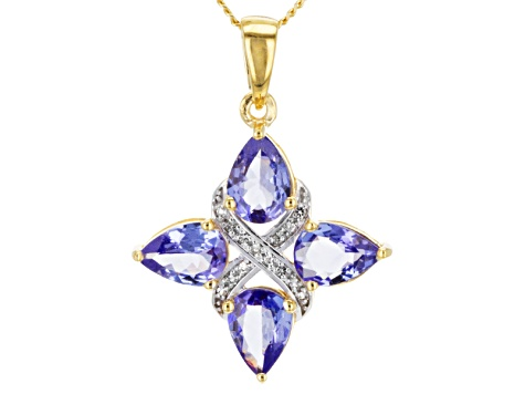Tanzanite 18k Yellow Gold Over Sterling Silver Pendant With Chain 2.31ctw