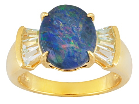 Opal Triplet 18k Yellow Gold Over Sterling Silver Ring .76ctw