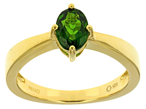 Green Chrome Diopside 18k Yellow Gold Over Sterling Silver Ring .65ct