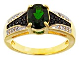 Green Chrome Diopside 18k Yellow Gold Over Sterling Silver Ring 1.36ctw