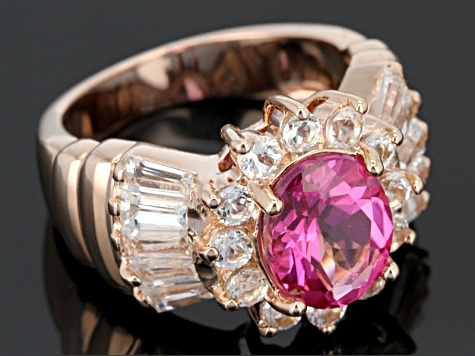 Pink Topaz 18k Rose Gold Over Sterling Silver Ring 4.06ctw