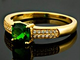 Green Chrome Diopside And White Topaz 18k Yellow Gold Over Silver Ring .96ctw