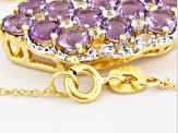 Purple Amethyst 18k Yellow Gold Over Sterling Silver Pendant With Chain 5.16ctw