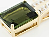 Green Moldavite And White Topaz 18k Gold Over Silver Pendant With Chain 1.57ctw