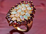Opal And Garnet 18k Yellow Gold Over Sterling Silver Ring 6.43ctw