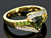 Chrome Diopside, Moldavite And White Zircon 18k Yellow Gold Over Sterling Silver Ring 1.05ctw