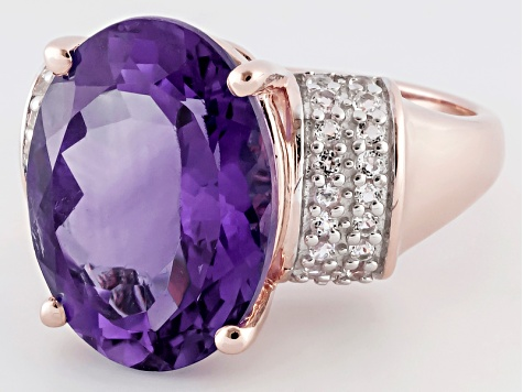 Amethyst 18k Rose Gold Over Sterling Silver Ring 7.85ctw