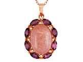Pink Sunstone 18k Rose Gold Over Silver Pendant With Chain 1.46ctw