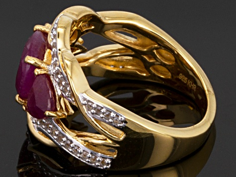 Red Ruby 18k Yellow Gold Over Sterling Silver Ring 2.10ctw