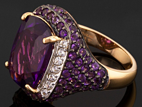 Purple Amethyst 18k Rose Gold Over Sterling Silver Ring 7.19ctw