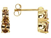 Brown Axinite 18k Gold Over Silver 2-Stone Earrings 1.10ctw