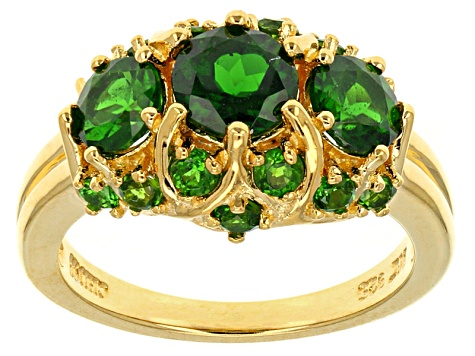 Green Chrome Diopside 18k Gold Over Sterling Silver Ring 2.38ctw
