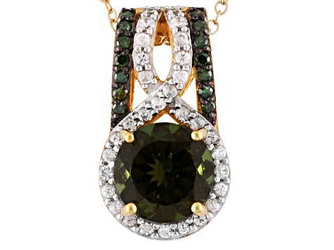 Green Moldavite 18k Gold Over Sterling Silver Pendant With Chain 1.65ctw