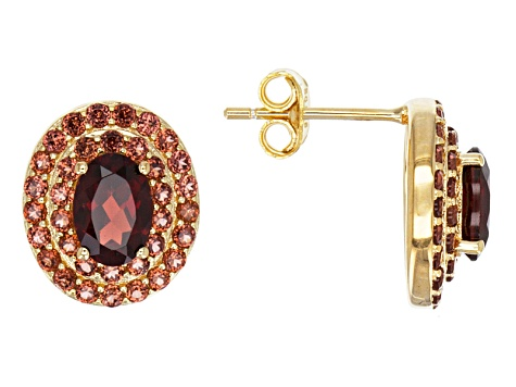 Red Garnet 18k Yellow Gold Over Sterling Silver Earrings 2.75ctw