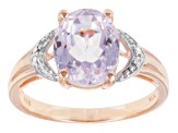 Pink Kunzite 18k Rose Gold Over Sterling Silver Solitaire Ring 3.40ct