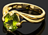 Green Peridot 18k Yellow Gold Over Sterling Silver Ring 2.29ct