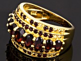 Red Garnet 18k Yellow Gold Over Sterling Silver Band Ring 3.03ctw