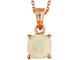 Ethiopian Opal 18k Rose Gold Over Sterling Silver Solitaire Pendant With Chain .76ct