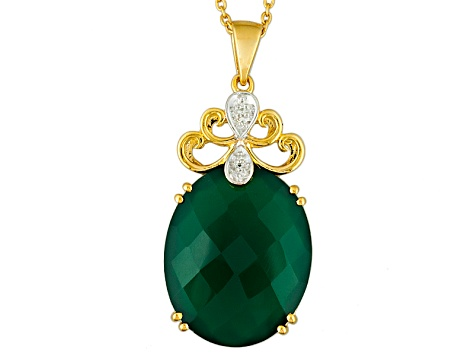Green Onyx 18k Yellow Gold Over Sterling Silver Pendant With Chain 15.61ctw