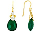 Green Onyx And White Topaz 18k Yellow Gold Over Sterling Silver Earrings 15.64ctw