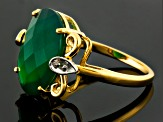 Green Onyx And White Topaz 18k Yellow Gold Over Sterling Silver Ring 6.12ctw