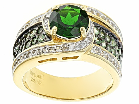 Green Chrome Diopside 18k Yellow Gold Over Sterling Silver Ring 2.19ctw