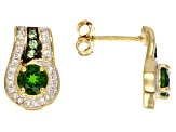 Green Chrome Diopside 18k Yellow Gold Over Sterling Silver Earrings 1.49ctw