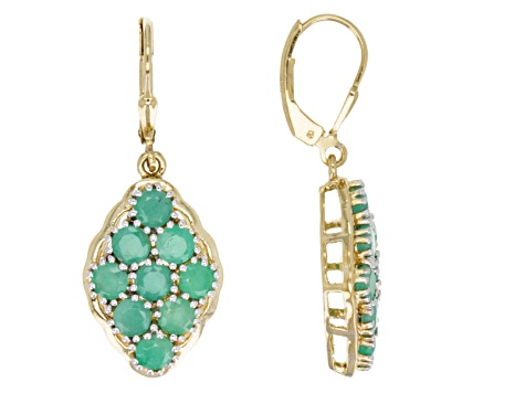 Green Emerald 18k Gold Over Silver Earrings 3.93ctw