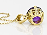 Purple Amethyst 18k Gold Over Silver Pendant With Chain 2.27ctw