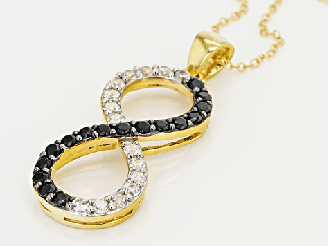 Black Spinel 18k Yellow Gold Over Sterling Silver infinity Pendant With Chain 1.32ctw