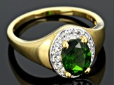 Green Chrome Diopside And White Topaz 18k Yellow Gold Over Sterling Silver Ring 1.24ctw