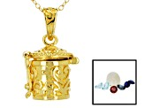 Ethiopian Opal 18k Gold Over Silver Prayer Box Pendant With Chain 1.00ctw