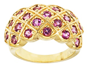 Pink Lab Created Bixbite 18k Gold Over Silver Band Ring 1.02ctw
