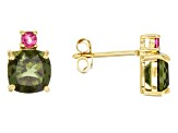 Green Moldavite And Lab Bixbite 18k Gold Over Silver Earrings 1.98ctw