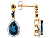 London Blue Topaz 18k Gold Over Sterling Silver Earrings 3.10ctw