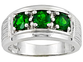 Round Green Chrome Diopside Rhodium Over Sterling Silver Gent's Ring 1.35ctw